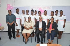 Minister of Health, Dr. Bheri Ramsaran along with the tutors and class of Nursing Assistants