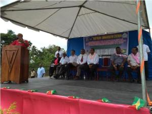 President Donald Ramotar addressing the gathering at the 102nd anniversary of the Rosehall Martyrs at Canje