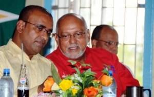 Former President, Bharrat Jagdeo (left) and Head of State, Donald Ramotar.