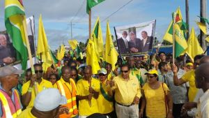 APNU+AFC Prime Ministerial Candidate, Moses Nagamootoo and supporters at Whim, Corentyne Berbice. [iNews' Photo]