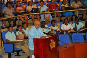 President Donald Ramotar addressing the gathering at the GICC. [iNews' Photo]