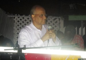 General Secretary of the PPP, Clement Rohee during his address to residents in Tucville. [iNews' Photo]