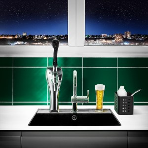 Mock-up of an installed residential beer tap and the Carlsberg HQ in Copenhagen