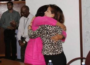 PPP Prime Ministerial Candidate Elisabeth Harper and Foreign Affairs Minister Carolyn Rodrigues Birkett share an embrace during the farewell celebration.