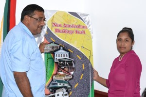 Region Six Chairman, David Armogan and the National Trust, Chief Executive Officer (CEO)  Nirvana Persaud during the launch of the New Amsterdam Heritage Trail