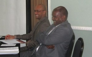 President of GCCI Lance Hinds [right] & Executive Member Vishu Dorega. [iNews' Photo]
