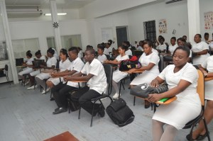 he new batch of nurses inducted for training at the Kingston Nursing School Annex. [GINA Photo]