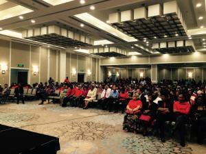 A section of the gathering at the launch of the PPP/C Manifesto at the Guyana Marriott.