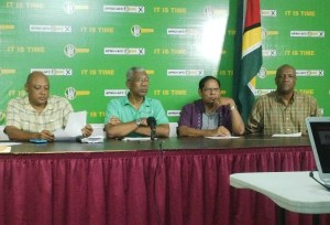 Presidential Candidate of the APNU+AFC, David Granger and other executives at the press conference. [iNews' Photo]