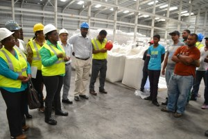 Broomes  addressing a group of workers at the Enmore Packaging Plant