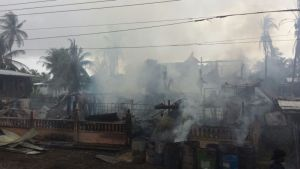The gutted home and factory of Ayube Hamid. [iNews' Photo]