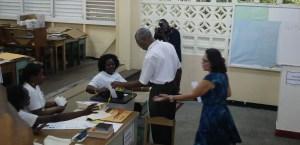 Brigadier David Granger casting his ballot.