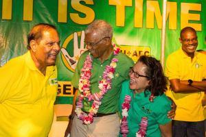 President David Granger (center); First Lady. Sandra Granger and Prime Minister, Moses Nagamootoo.