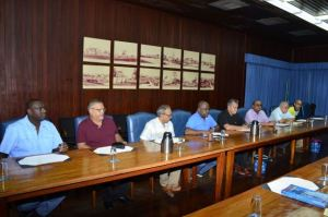 Several senior members of the Private Sector Commission during a meeting with President Ramotar to address some issues ahead of the May 11 general and regional elections