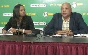 APNU/AFC's Co-Chairman , Raphael Trotman during the press conference (iNews' photo)