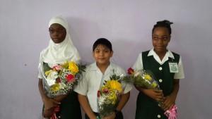 Top Students, l -R: Afeefah London, Solomon Cherai and Shania Eastman. [iNews' Photo]