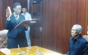 Jo-Ann Barlow taking her oath. [iNews' Photo]
