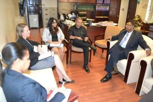 Second Vice President and Minister of Public Security, Khemraj Ramjattan in discussion with Canadian High Commissioner to Guyana, Dr. Nicole Giles along with her team during a courtesy call at the Ministry of Public Security, Brickdam, Georgetown