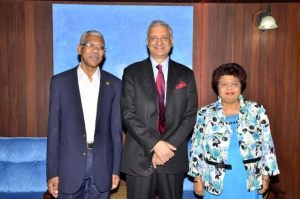 President David Granger and Commonwealth Secretary General, Kamalesh Sharma along with Minister of Social Cohesion Amna Ally shortly before the convening of the meeting