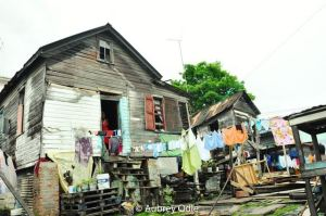 One of the many dwelling houses located at Lombard and Broad Street which residents have been occupying for years.