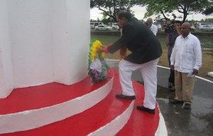 Prime Minister Moses Nagamootoo lays a wreath at  the Enmore Martyrs' Memorial site