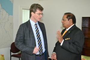 Prime Minister, Moses Nagamootoo and His Excellency, Greg Quinn, British High Commissioner to Guyana.