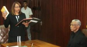 Priya Sewnarine – Beharry taking her oath. [iNews' Photo]