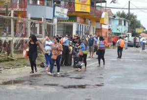 Some of the alleged victims leaving the Bartica Police Station