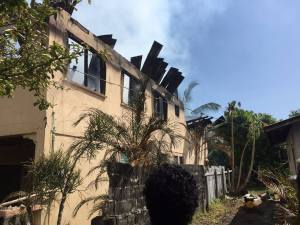 The damaged house at Crane Housing Scheme, West Coast Demerara. [Nakasia Logan Photos]