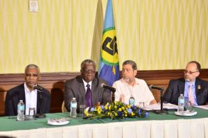 Chairman of CARICOM, Prime Minister of Barbados, Freundel Stuart [second from left] along with President David Granger [extreme left] and other officials during the press conference in Barbados.