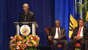 President David Granger addressing the CARICOM Heads of Government meeting