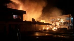 Fire engulfs the building. [iNews' Photo]