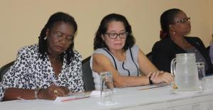 L-R: UNFPA Assistant Representative Patrice La Fleur, First Lady Sandra Granger and Minister Lawrence. [iNews' Photo]