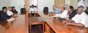 Finance Minister Winston Jordan (center) and his team, meeting with PPP's officials for Annual Budget consultations