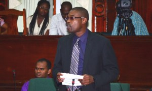Minister of Public Infrastructure, David Patterson during his budget presentation.