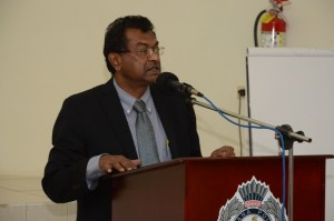 Vice President and Minister of Public Security, Khemraj Ramjattan during the launch of the Suicide Prevention Hotline. [iNews' Photo]