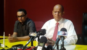 General Secretary of the PPP, Clement Rohee [right] at the press conference on Monday, August 17. [iNews' Photo]