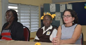 First Lady Mrs. Sandra Granger along with Anita Barker, who is a student of the Friendship Primary School and head teacher, Karen Dey .