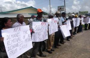 Rice Farmers protesting in front the GRDB's office at Anna Regina,Essequibo Coast.