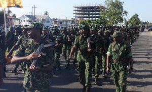Soldiers marching through the streets. [iNews' Photo]