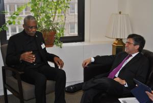 President Granger and IDB President, Mr. Luis Alberto Moreno. [Neil Marks Photo]