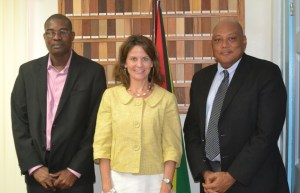 (From Left) Minister of Public Infrastructure, David Patterson, U.S Department of State, Deputy Assistant Secretary, Robin Dunnigan and Minister of Governance, Raphael Trotman.