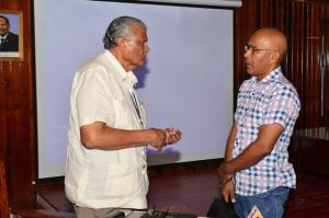 Chairman of the National Task Force Committee, Major General (rtd) Joseph Singh having a discussion with Chairman of the national Toshaos Council, Joel Fredrick