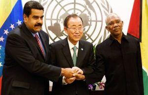 L-R: Venezuela's President, Nicolas Maduro; UN Chief, Ban - Ki - Moon and President of Guyana, David Granger