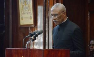 President David Granger addresses Parliament.