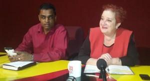 Opposition Parliamentarian and Chief Whip, Gail Teixeira (right) and Dharamkumar Seeraj. [iNews' Photo]