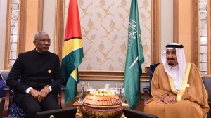President Granger with His Highness, King of Saudi Arabia Salman bin Abdulaziz Al Saud at the Fourth Summit of the Arab and South American Countries (ASPA)