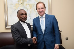 Minister of Foreign Affairs, Carl Greenidge meeting with the United Kingdom's Rt Hon Hugo Swire, Minister of State at the Foreign and Commonwealth Office