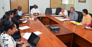 Minister of Finance Winston Jordan in Budget 2016 Consultations with the PSC.