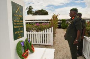 Chief of Staff of the Guyana Defence Force Mark Phillips as he laid a wreath at the Veterans' Monument,